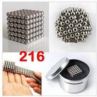 Неокуб NEOCUBE серебро 5мм Originalsize,Игрушка-конструктор, состоящая из 216 намагниченных шариков, фото 1
