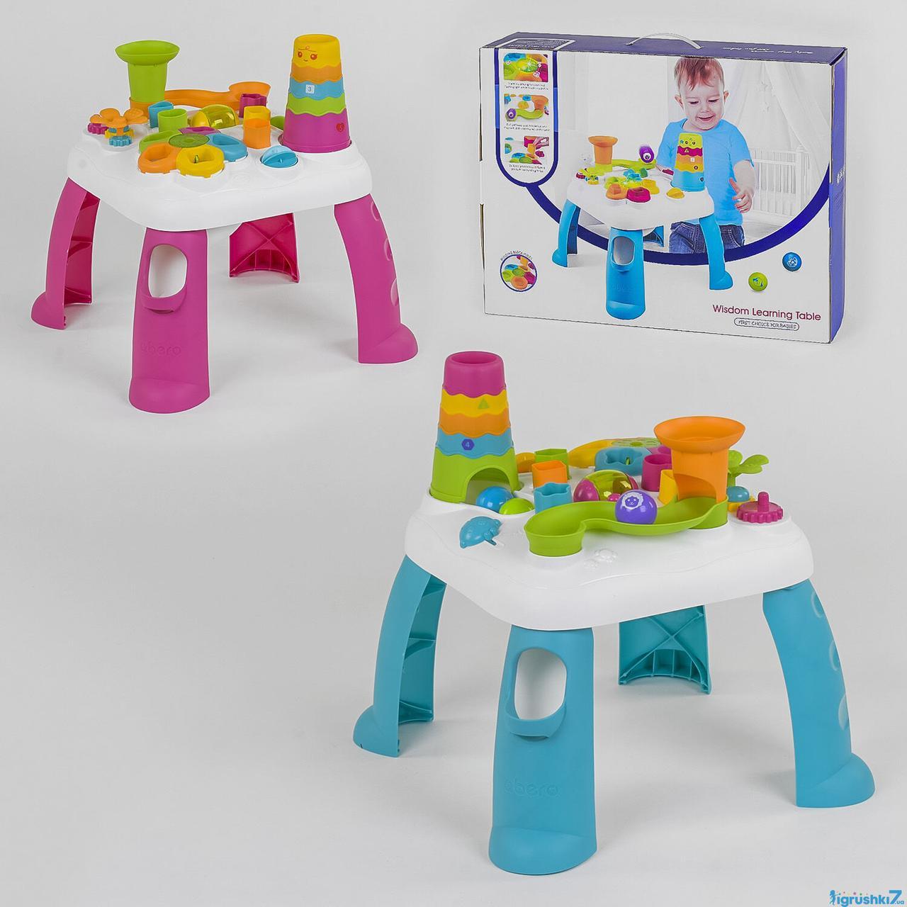 Столик развивающий логический QX 91161 E (6) 2 цвета, свет, звук, в коробке