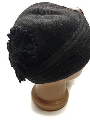 Теплая шапка с цветами сзади Urchin черная, фото 2