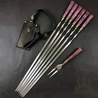 """Подарочный набор шампуров с деревянными ручками """"Бук бордо"""" с вилкой для снятия мяса, в колчане"""