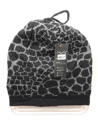 Тонкая шапка с леопардовым принтом серая, фото 2