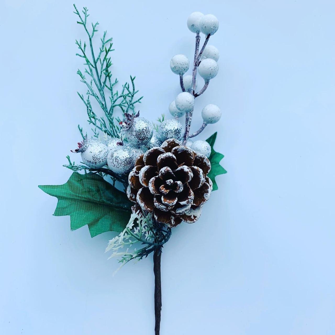 Новогодний декор.Веточка новогодняя(25 см)