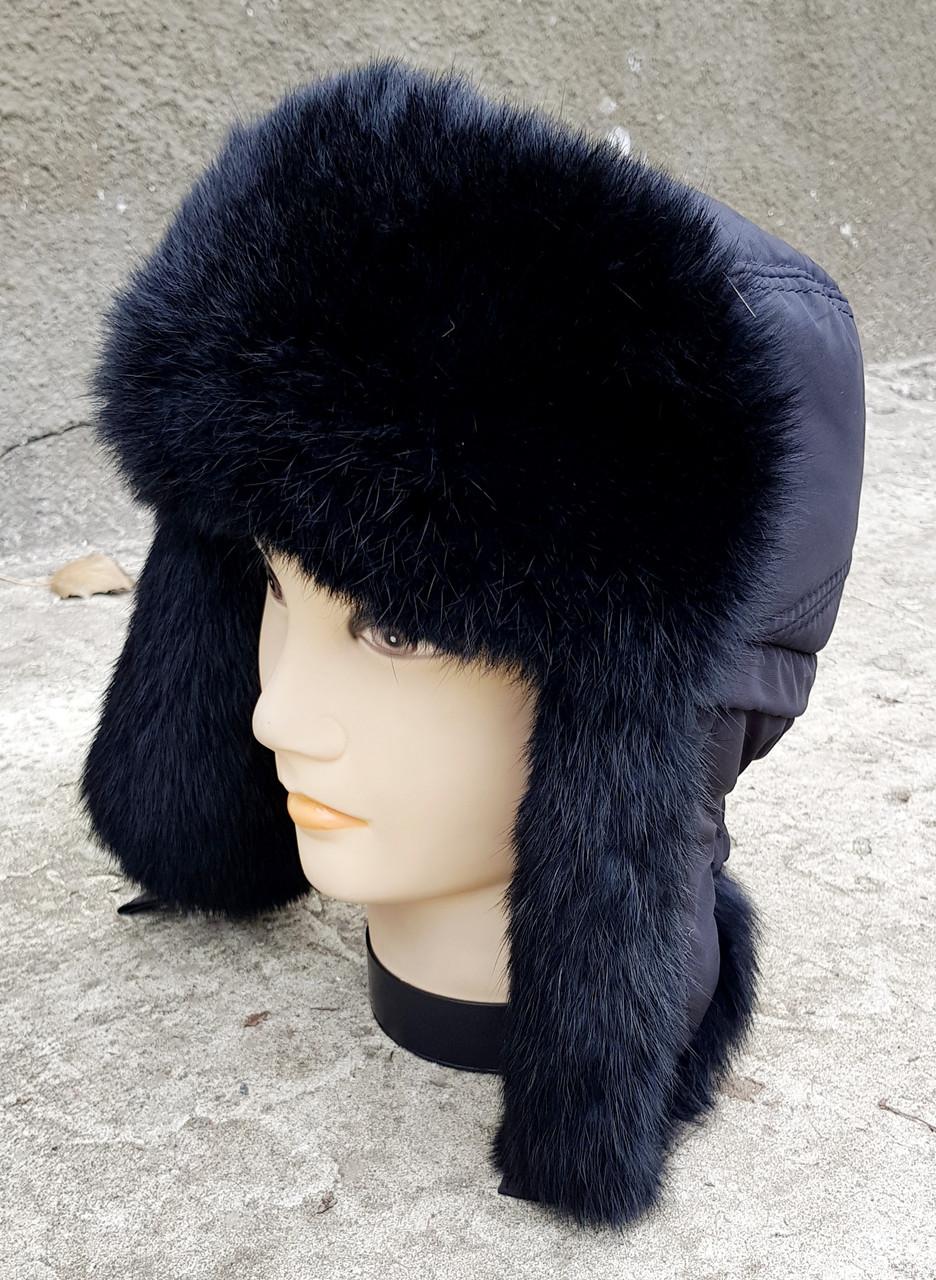 Зимняя мужская шапка-ушанка Klaus с Резинкой 56-57 Чёрная (09)
