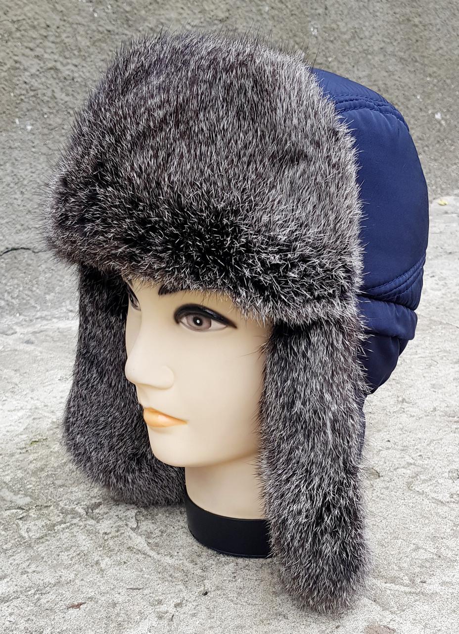 Зимняя мужская шапка-ушанка Klaus с Резинкой  56-57 Синяя с Серым Мехом (07)