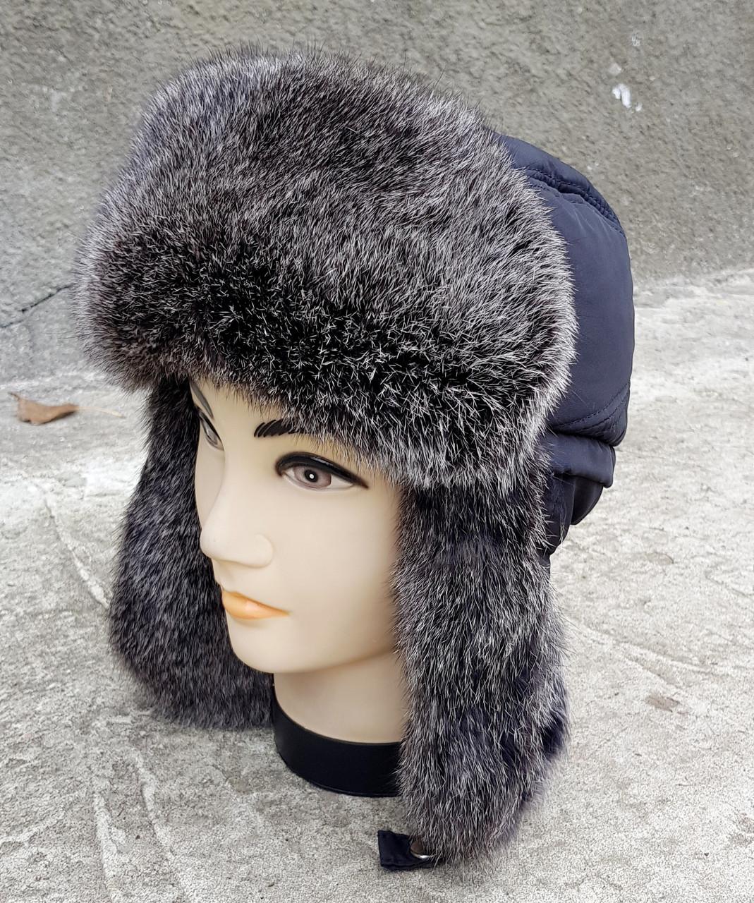 Зимняя мужская шапка-ушанка Klaus с Резинкой 56-57  Чёрная  с Серым Мехом (05)
