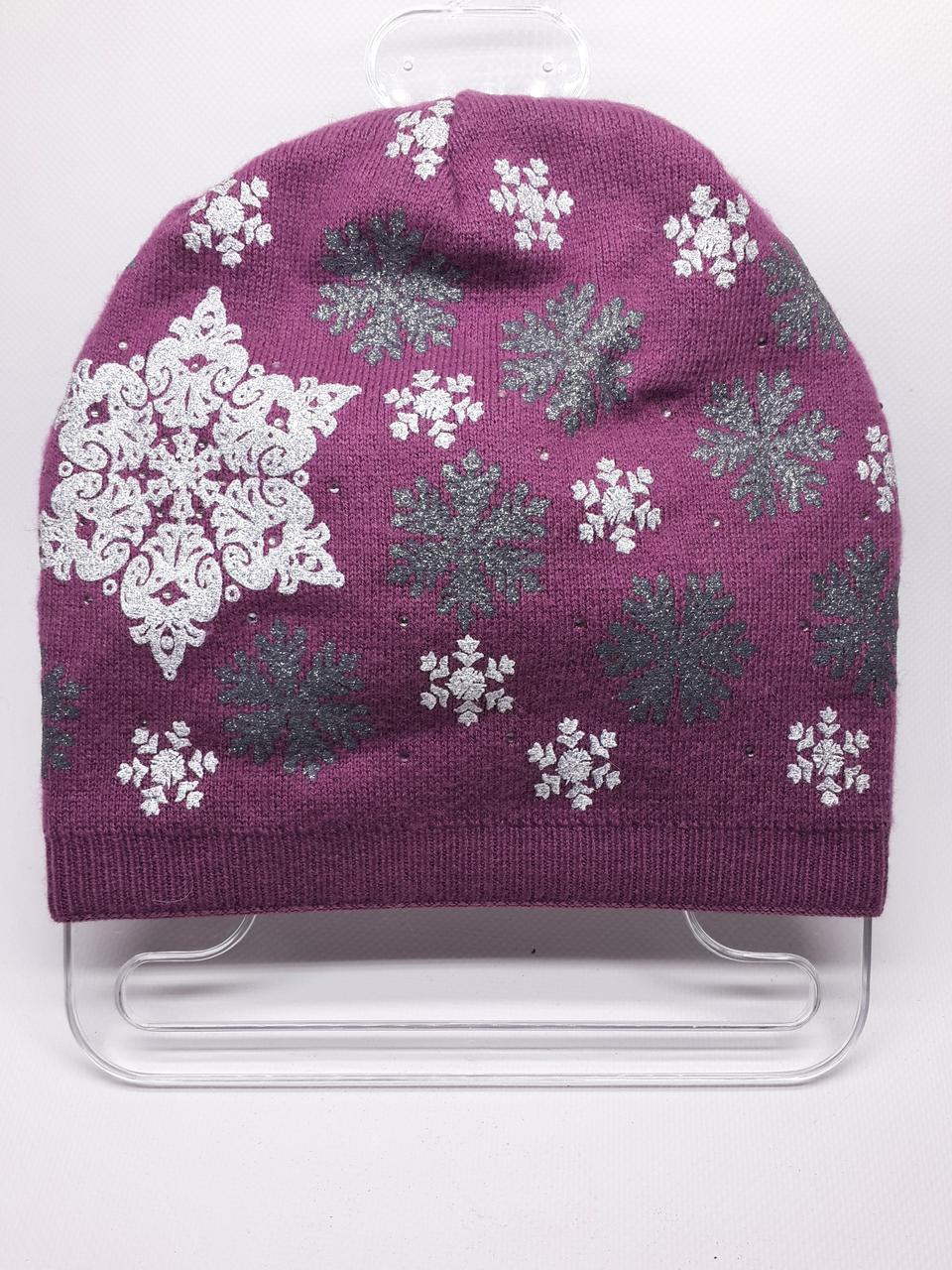 Шапка со снежинками Urchin розовая