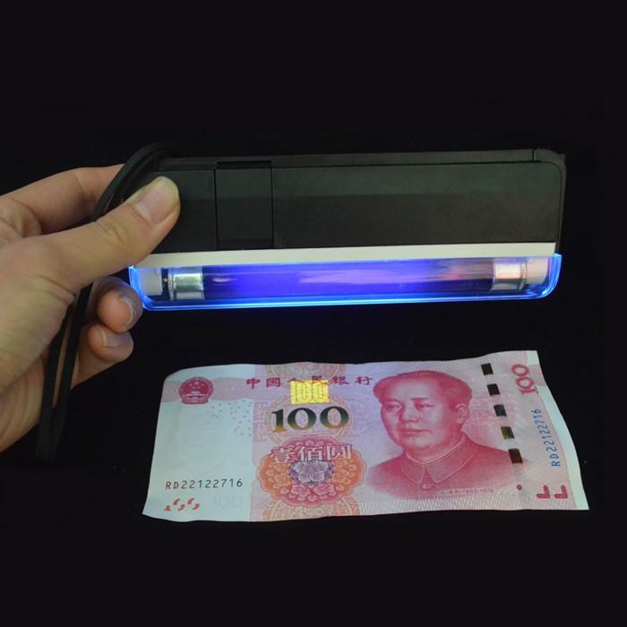 Детектор валют Kronos DL01 портативный на батарейках, ультрафиолетовый детектор купюр, сканер денег