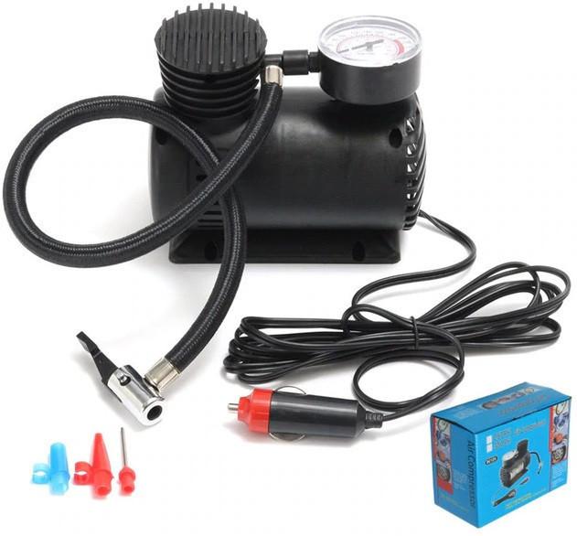 Компрессор для подкачки колес автомобильный Air Compressor 250 psi с манометром + набор иголок, насос 12V