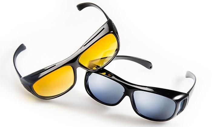 Антибликовые очки HD VISION 2 штуки в наборе, от солнечных бликов и для ночного вождения