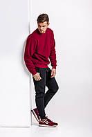 Зимний мужской спортивный костюм - бордовый теплый свитшот и черные теплые штаны / ОСЕНЬ-ЗИМА