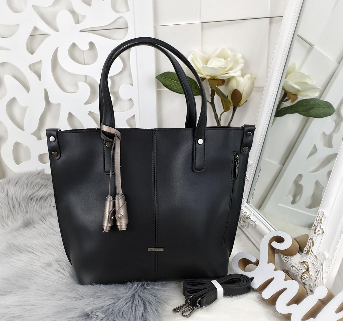 Женская сумка черного цвета, эко-кожа