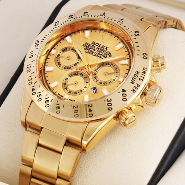 Часы наручные Rolex Daytona (Gold) кварцевые, часы ролекс, золотые часы, копия