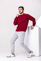Зимний мужской спортивный костюм - бордовый теплый свитшот и серые теплые штаны / ОСЕНЬ-ЗИМА