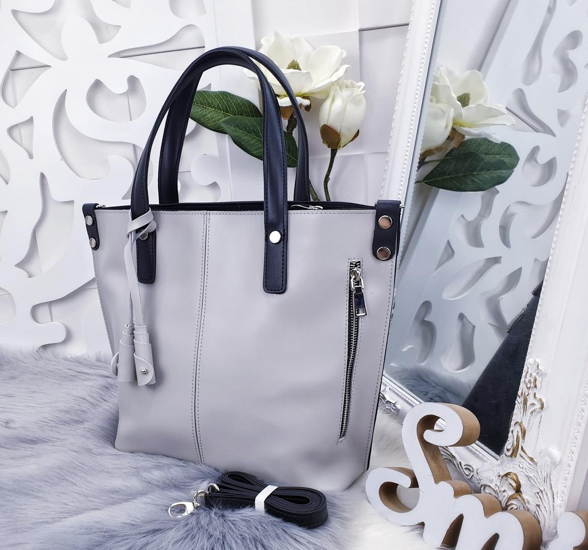 Женская сумка серого цвета, эко-кожа