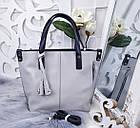 Женская сумка серого цвета, эко-кожа, фото 4