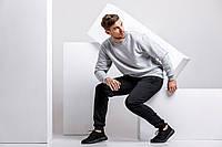 Зимний мужской спортивный костюм - серый теплый свитшот и черные теплые штаны / ОСЕНЬ-ЗИМА