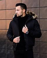 РАСПРОДАЖА! Куртка мужская зимняя с мехом на капюшоне до -20*С Форс черная / пуховик зимний