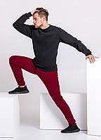 Зимний мужской спортивный костюм - черный теплый свитшот и бордовые теплые штаны / ОСЕНЬ-ЗИМА