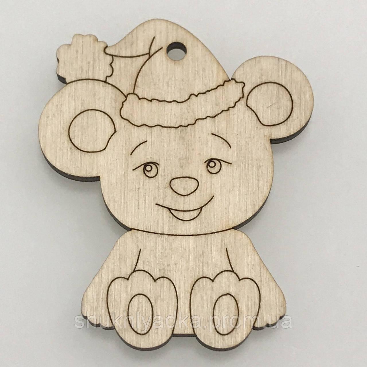 """Новогодняя деревянная елочная игрушка Подвеска """"Мышонок в шапке_две лапки""""_деревянный декор_Новый год"""