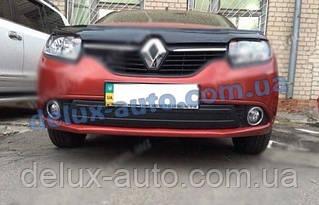 Зимняя нижняя накладка на решетку глянец на Renault Sandero 2013↗ гг.