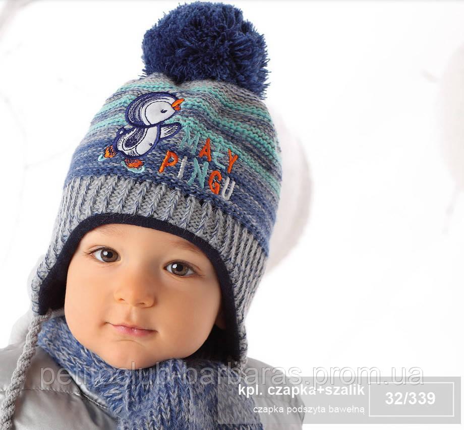 Комплект зимовий Маленький пінгвін: шапка з шарфом для хлопчика (AJS, Польща)