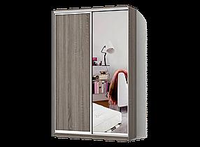 Шкаф-Купе Двухдверный Классик-2 Дуб Сонома Трюфель, Зеркало (Luxe-Studio TM)