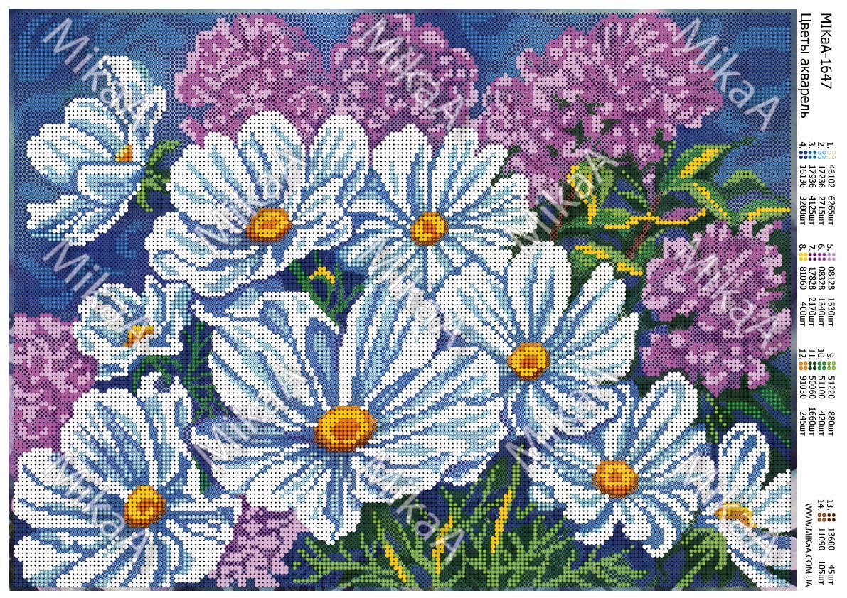 """Схема для полной зашивки бисером - """"Цветы акварель"""" А3"""