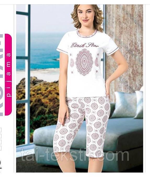 Пижама женская футболка с капри хлопок MISS LALE № 10011