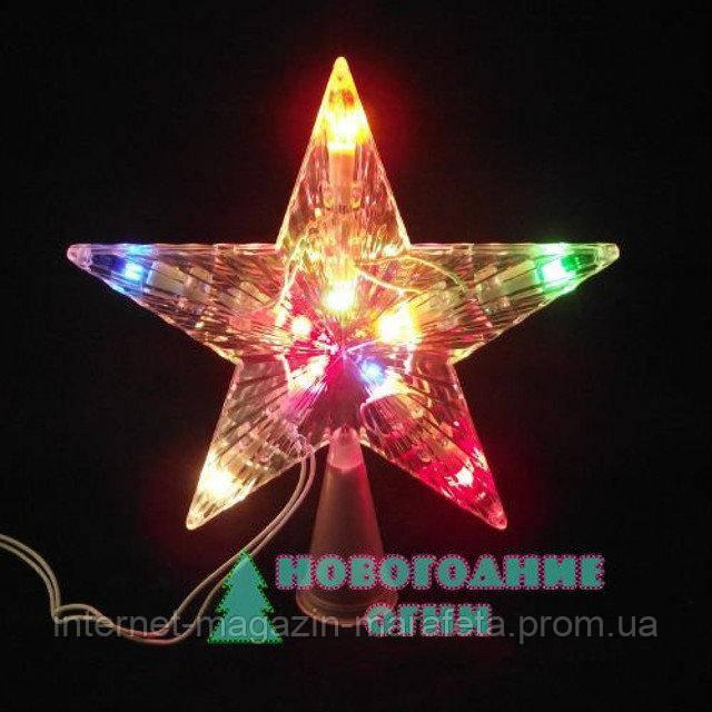 """Яркая мигающая Верхушка на елку """"Звезда"""" светодиодная"""
