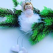Новорічна прикраса.Новорічний Декор-Ангел білий.