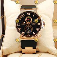 Часы механические с автоподзаводом Ulysse Nardin Maxi Marine Gold/Black Улис Нардин Оптом, Дропшиппинг
