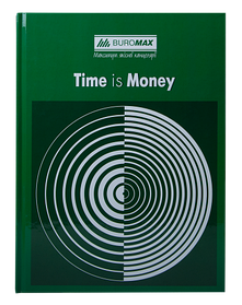 """/Книга обліку """"TIME IS MONEY"""" 96 арк/кліт.оф.(тв. лам. обл), А4, зелений"""