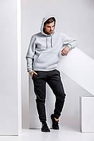 Зимний мужской спортивный костюм - серая теплая худи и черные теплые штаны / ОСЕНЬ-ЗИМА