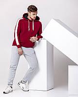 Зимний мужской спортивный костюм - бордовая теплая худи с лампасами и серые теплые штаны / ОСЕНЬ-ЗИМА