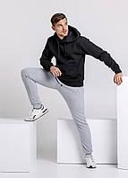 Зимний мужской спортивный костюм - черная теплая худи и серые теплые штаны / ОСЕНЬ-ЗИМА
