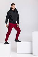 Зимний мужской спортивный костюм - черная теплая худи и бордовые теплые штаны / ОСЕНЬ-ЗИМА