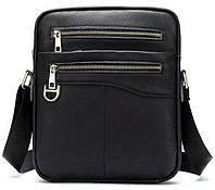 Компактная мужская сумка кожаная Vintage 14824 Черная, Черный