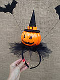 Обруч з гарбузом та летючими мишами для дівчаток до свята Хеллоуїну, фото 5