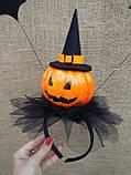 Обруч з гарбузом та летючими мишами для дівчаток до свята Хеллоуїну, фото 6