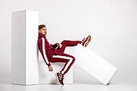 Теплый костюм с лампасами - бордовая худи с лампасами и бордовые штаны с лампасами / ОСЕНЬ-ЗИМА