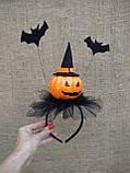 Обруч з гарбузом та летючими мишами для дівчаток до свята Хеллоуїну, фото 7