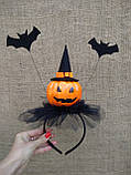 Обруч з гарбузом та летючими мишами для дівчаток до свята Хеллоуїну, фото 4