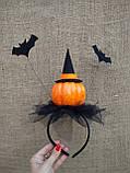 Обруч з гарбузом та летючими мишами для дівчаток до свята Хеллоуїну, фото 8