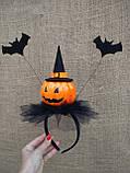 Обруч з гарбузом та летючими мишами для дівчаток до свята Хеллоуїну, фото 9