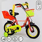 """Детский двухколесный велосипед с креслом для куклы 12"""" Corso, фото 7"""
