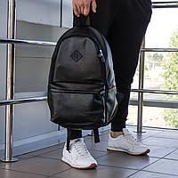 Кожаный рюкзак Мужской Romb черный, городской рюкзак, молодежный рюкзак, рюкзак в школу