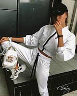 Жіночий стильний спортивний костюм на блискавки білий жовтий 42-44