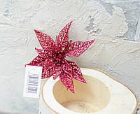 Головка пуансетии красной ажур на клипсе С513, фото 1