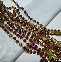 Стразовая цепь, gold, Dk. Siam SS12 (3 мм) 1 ряд. Цена за 0.5 м., фото 1