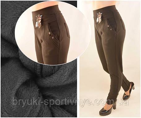 Брюки женские на меху в больших размерах 5XL - 7XL Лосины зимние с карманами в черном цвете, фото 2